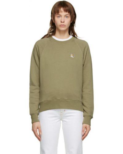 Frotte zielony bluza z kołnierzem z mankietami Maison Kitsune