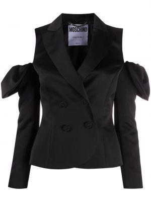 Черный удлиненный пиджак двубортный на пуговицах Moschino