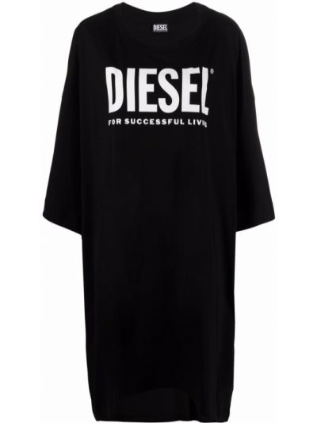 Черное платье рубашка с драпировкой на шпильке Diesel