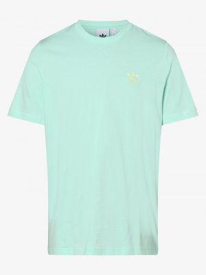 Niebieski t-shirt z haftem Adidas Originals