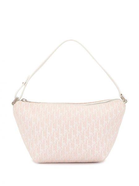 Srebro skórzany torba kosmetyczna prążkowany Christian Dior