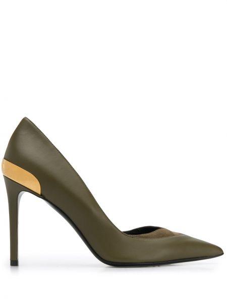 Золотистые желтые туфли-лодочки без застежки металлические Balmain