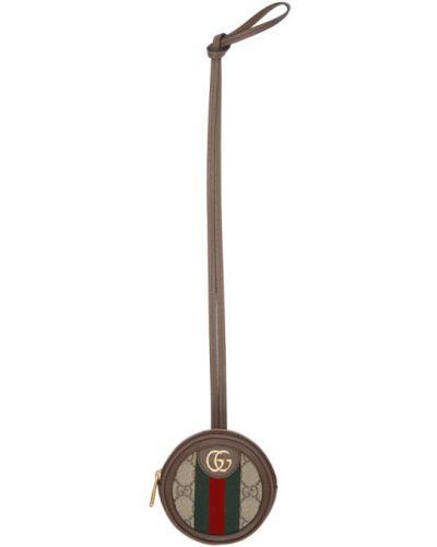 Z paskiem brązowy skórzany mini torebka z łatami Gucci