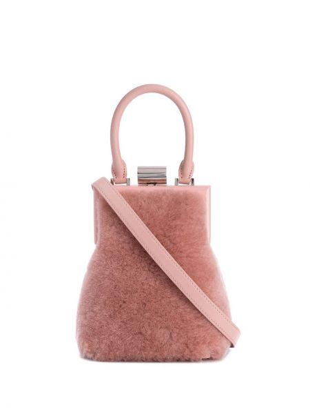 Кожаная розовая кожаная сумка круглая Perrin Paris