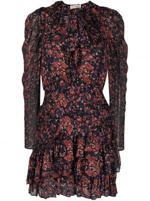 Sukienka mini rozkloszowana z jedwabiu z printem Ulla Johnson