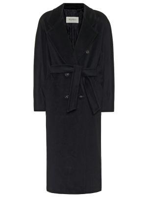 Черное шерстяное пальто классическое с поясом Max Mara