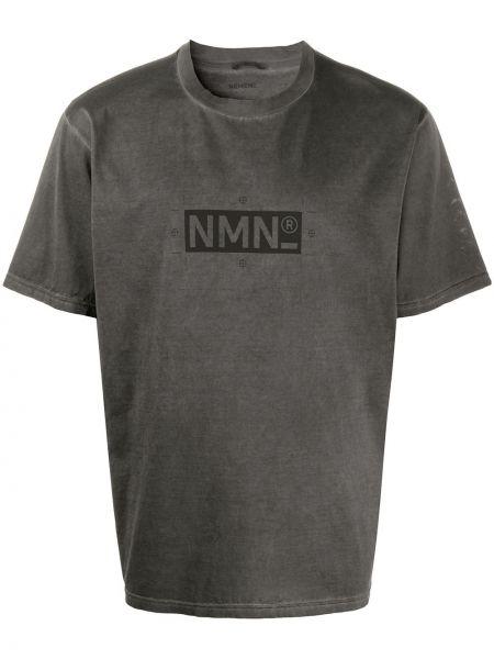 С рукавами хлопковая серая футболка с круглым вырезом Nemen
