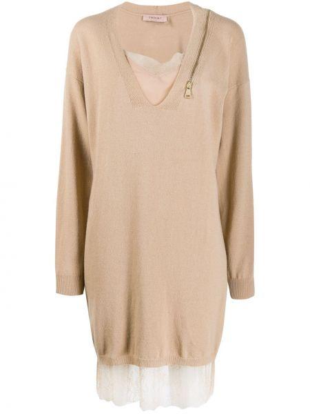 Шерстяное кружевное с рукавами платье макси Twin-set