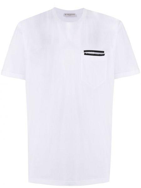 Biały bawełna koszula krótkie z krótkim rękawem z kieszeniami z łatami Givenchy