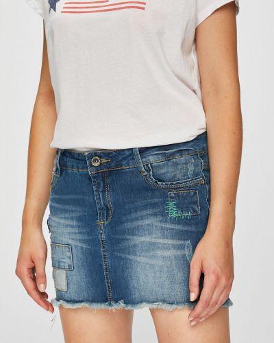 Синяя плиссированная джинсовая юбка с карманами Fresh Made