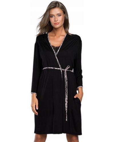 Czarny szlafrok z wiskozy Italian Fashion