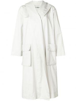 Белый хлопковый длинное пальто с карманами Issey Miyake Pre-owned
