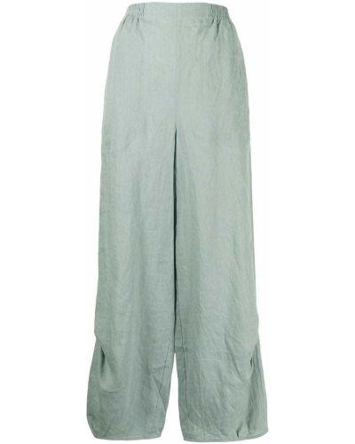 Зеленые льняные брюки свободного кроя Giorgio Armani
