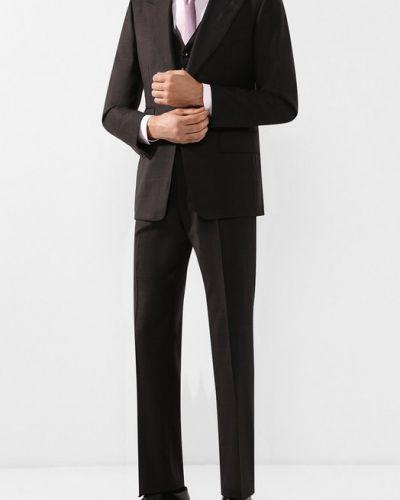Костюм-тройка шерстяной коричневый Tom Ford