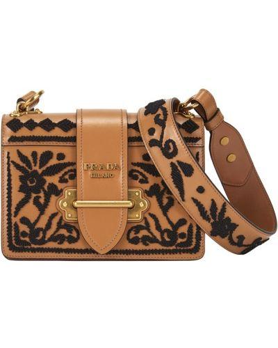 Кожаный сумка с вышивкой Prada