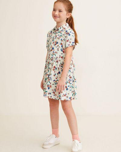 Платье с рукавами короткое в клетку Mango Kids