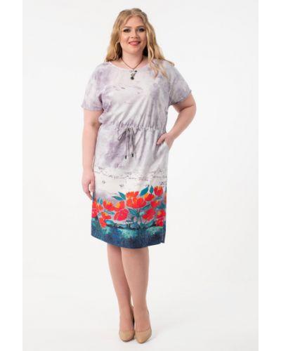 Летнее платье серое с цветочным принтом Wisell