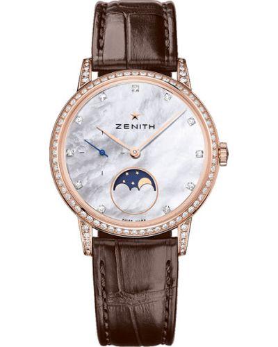 Водонепроницаемые часы на кожаном ремешке с камнями Zenith