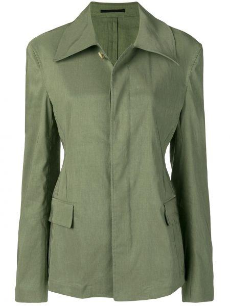 С рукавами зеленый удлиненный пиджак с карманами Golden Goose