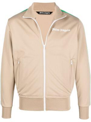 Beżowa długa kurtka z printem z długimi rękawami Palm Angels