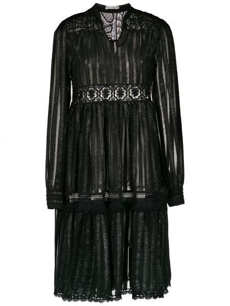 С рукавами черное платье макси прозрачное на молнии Martha Medeiros