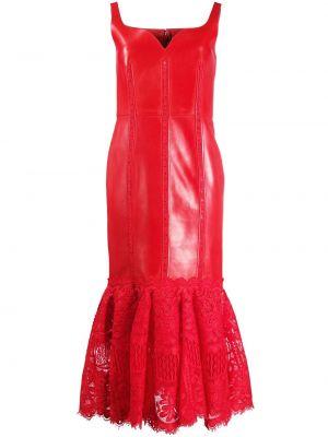 Кожаное красное платье миди с вырезом Alexander Mcqueen