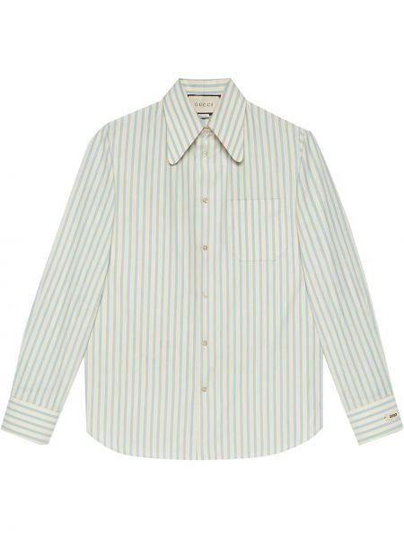 Niebieski bawełna z rękawami koszula z mankietami Gucci