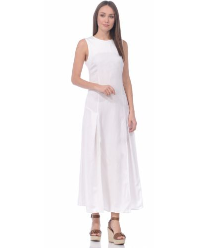 Белое платье миди с декольте из вискозы Baon