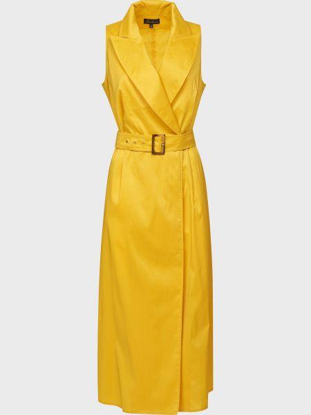 Желтое платье с поясом на пуговицах Luisa Spagnoli