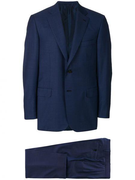 Синий шерстяной костюмный костюм Brioni