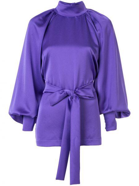 Фиолетовая блузка с длинным рукавом с поясом с манжетами с открытой спиной Dalood