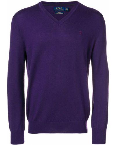 Приталенный фиолетовый свитер Polo Ralph Lauren