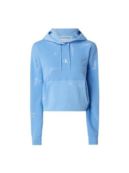Bawełna niebieski bluzka z długim rękawem z długimi rękawami z kieszeniami Calvin Klein Jeans