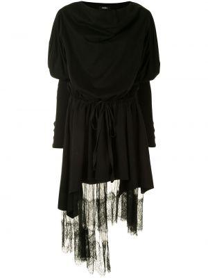 Нейлоновое черное асимметричное платье миди с воротником Goen.j