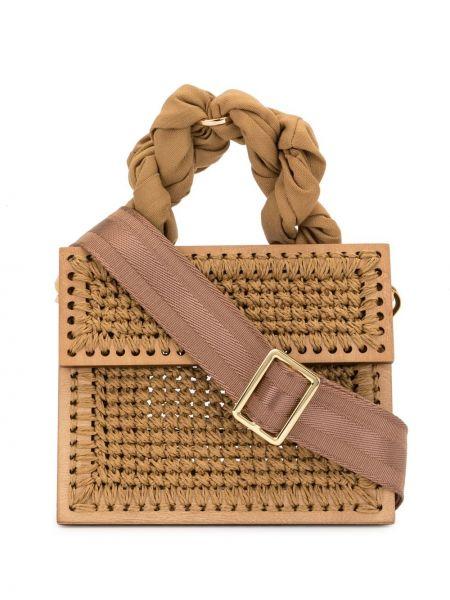 Коричневый с ремешком кошелек из верблюжьей шерсти 0711