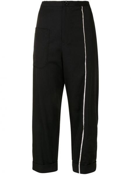 Тонкие шерстяные черные укороченные брюки Y`s