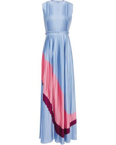 Satynowa niebieska sukienka długa Roksanda