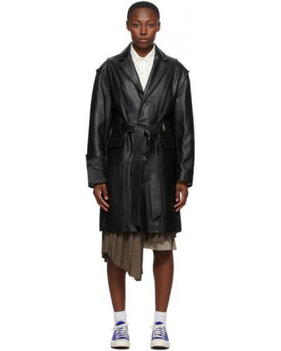 Skórzany czarny skórzany płaszcz z klapami z kieszeniami Ader Error
