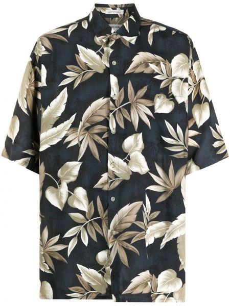 Черная прямая рубашка с короткими рукавами с воротником с карманами Pierre Cardin Pre-owned