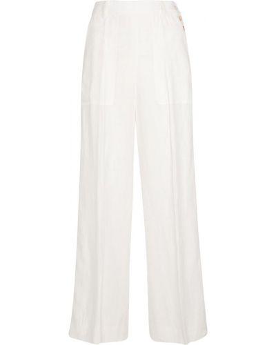 Льняные белые брюки свободного кроя Polo Ralph Lauren