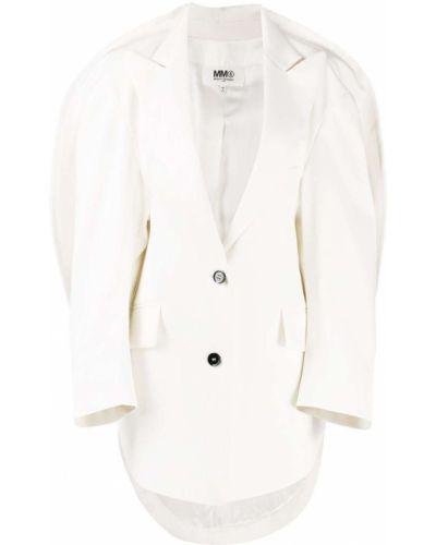 Z rękawami wełniany biały peleryna zapinane na guziki Mm6 Maison Margiela