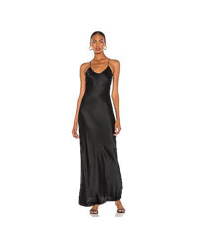 Вечернее черное шелковое вечернее платье на бретелях Nili Lotan