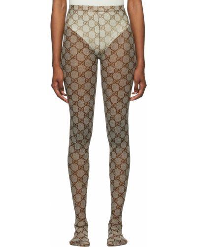 Rajstopy z nylonu - beżowe Gucci