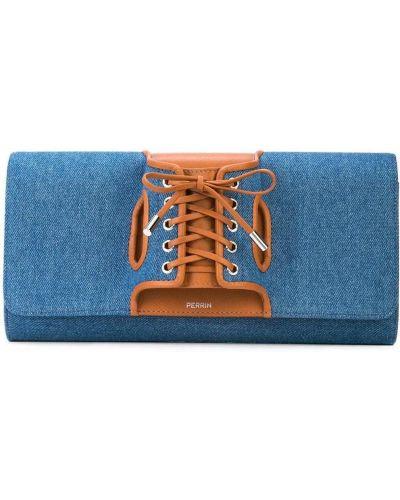Кожаный синий корсет на шнуровке с карманами Perrin Paris