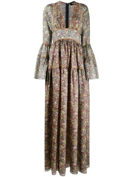 Платье с цветочным принтом с V-образным вырезом Dsquared2