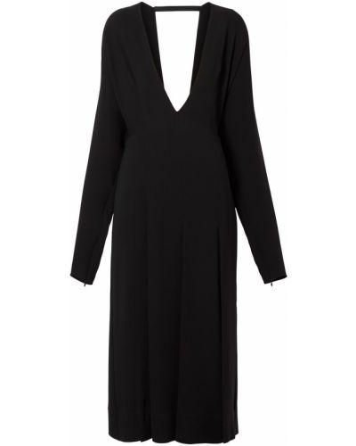 Шелковое черное платье миди с вырезом Burberry