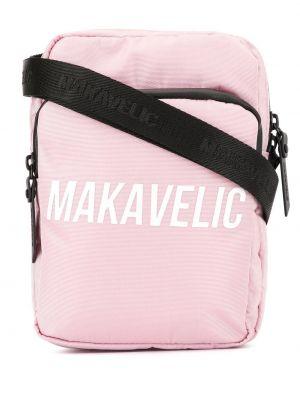 Розовая нейлоновая сумка через плечо с перьями Makavelic
