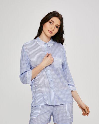 Рубашка с поясом из вискозы Dkny