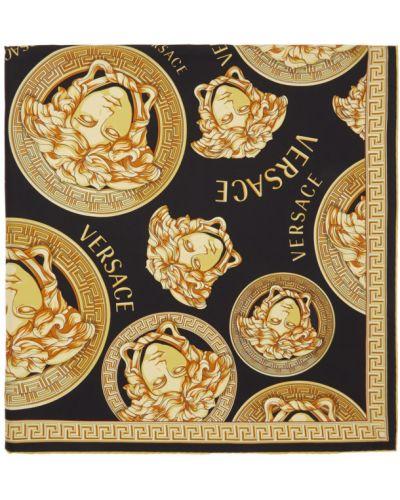 Черный шелковый шарф квадратный Versace