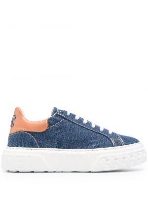 Niebieskie sneakersy skorzane sznurowane Casadei